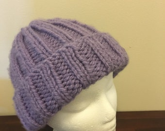 Warm hand knit ribbed hat