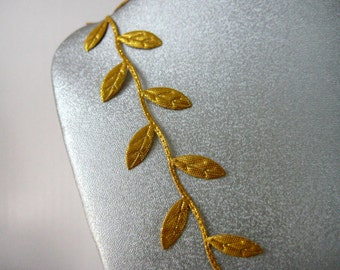 Gold Leaves Ribbon Trim for Wedding, Crafting, Scrapbooking, Card Making, Embellishment,  5/8 inch wide, 1 or 3 yards