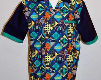 Doctor Who Patch print mens bowling style shirt