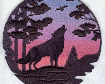 WOLF#2 EMBROIDERY on Men's Tee or Sweat by Rosemary