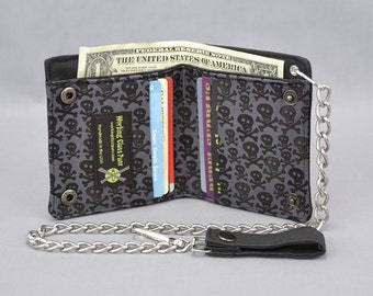 Skull and Crossbones Vegan Chain Wallet, Black and Gray, Black Canvas, Detachable Chain, Fabric Pockets