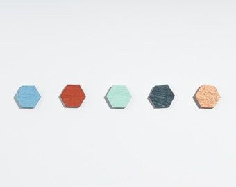 earrings hexagon // earings wood // geometric