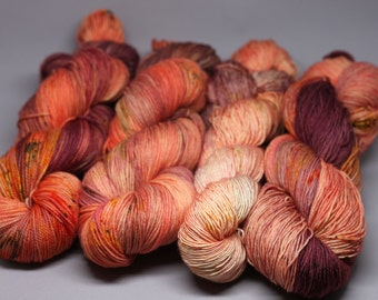 rose ritual - Hand Dyed Yarn - Twisted Sock - Super wash 80/20 Merino Nylon - {rose ritual} speckled indie dyed