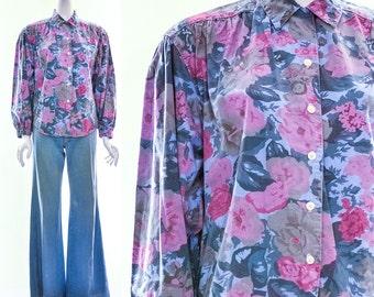 Vintage Chambray Floral Top Jean Blouse Denim Top Watercolor Floral Print Gathered Yoke Blouson Sleeves Feminine Seapunk Top Small Medium