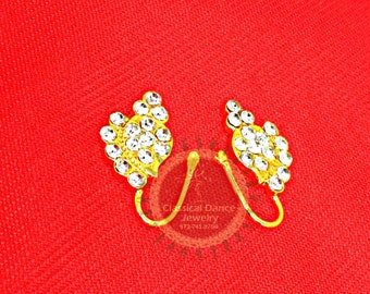 Pair of Imitation gold nose pin/nath/stud/Nathni for an non-pierced nose for Bharatanatyam/Kuchipudi Dance/ Weddings and Events