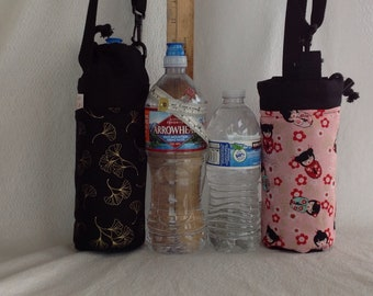 Insulated tote for 16 - 25 oz. (half liter to 750ml) containers ginkgo or Kokeshi dolls