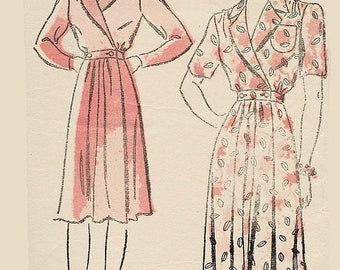 ON SALE Vintage 1930/40s Housecoat House dress w/ Shirring New York Pattern 585 30s Art Deco Sewing Pattern by Louise Scott Size 14 Bust 32