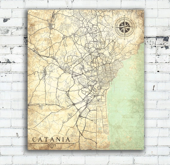 CATANIA Canvas Print Italy Vintage map City Town Italian map