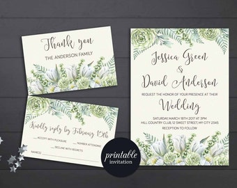 Greenery Wedding Invitation Printable, Floral Wedding Invitation, Green Winter Wedding Invitation, Printable Wedding Invitation Botanical