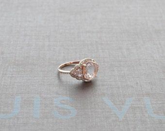 Morganite Pink Sapphire Engagement Ring - Sapphire Engagement Setting - 14k Rose Gold Morganite Art Deco Ring - Sapphire Engagement Ring
