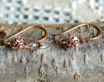 10pcs Earwire Antiqued Copper 25mm Fishhook French Hook 18 Gauge Earhook