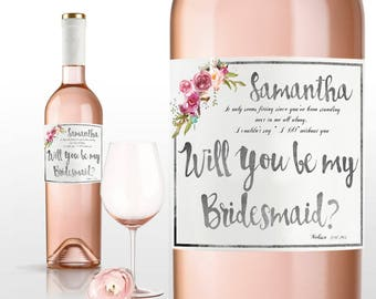 bridesmaid gift wedding invitation wedding favor personalized wedding gift will you be my bridesmaid gift bridesmaid proposal wine labes