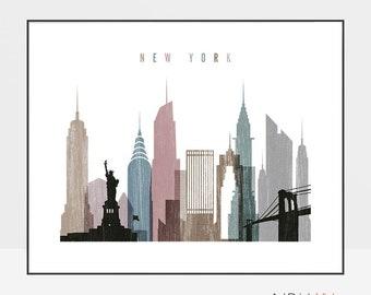 New York City skyline, New York print, wall art, New York City poster, Travel poster, City print, Travel Gift, Home Decor, ArtPrintsVicky
