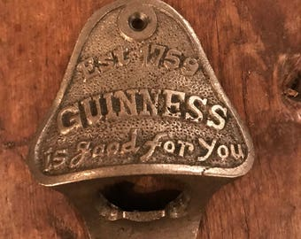 Vintage Style Wall Mounted Bottle Opener in an Antique Iron Finish (Guinness)
