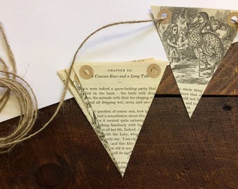 Alice in Wonderland Bunting - Lewis Carroll - Vintage Book Bunting - Childrens Gift - Nursery