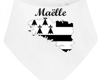 Bandana baby bib card personalized with name Brittany