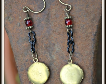 Golden Locket Earrings tiny brass locket and red glass handmade jewelry gift