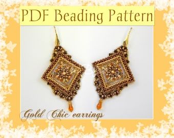 DIY Beading pattern Gold Chic earrings / PDF tutorial with detailed instructions, images and diagrams / Cubic Right Angle Weave 3D, Superduo
