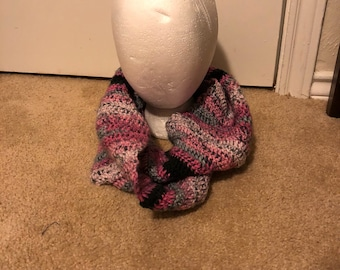 Pink, Black and Gray Infinty Scarf