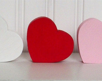 Wooden Hearts - Valentine - Home Decor - Red, Pink, and White Wood Hearts - Set of 7