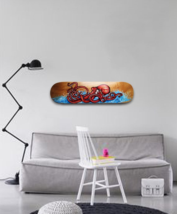 Octopus painting surf art red octopus custom skateboard octopus art squid sea animals skateboard decor octopus wall art