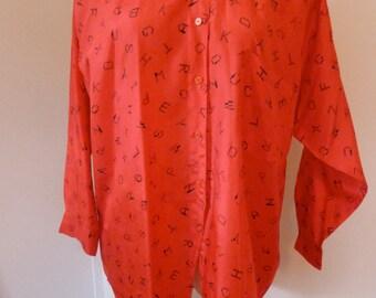 Vintage Red ABC blouse L