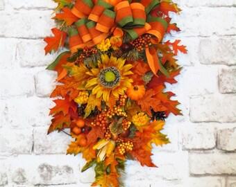 Fall Swag, Fall Swag for Front Door, Teardrop Swag, Teardrop Swag Wreath, Fall Decor, Thanksgiving Swag, Fall Swag Wreath