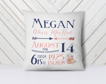 Birth announcement pillow cover - baby shower gift - customized baby pillow cover - Shower Gift