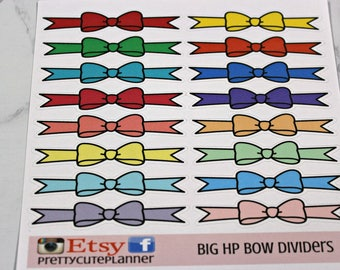 BIG HAPPY Planner Stickers / Bow Divider /Planner Dividers / Planner Stickers / Happy Planner / Bow Sticker / Pastel bow sticker / Bold Bows