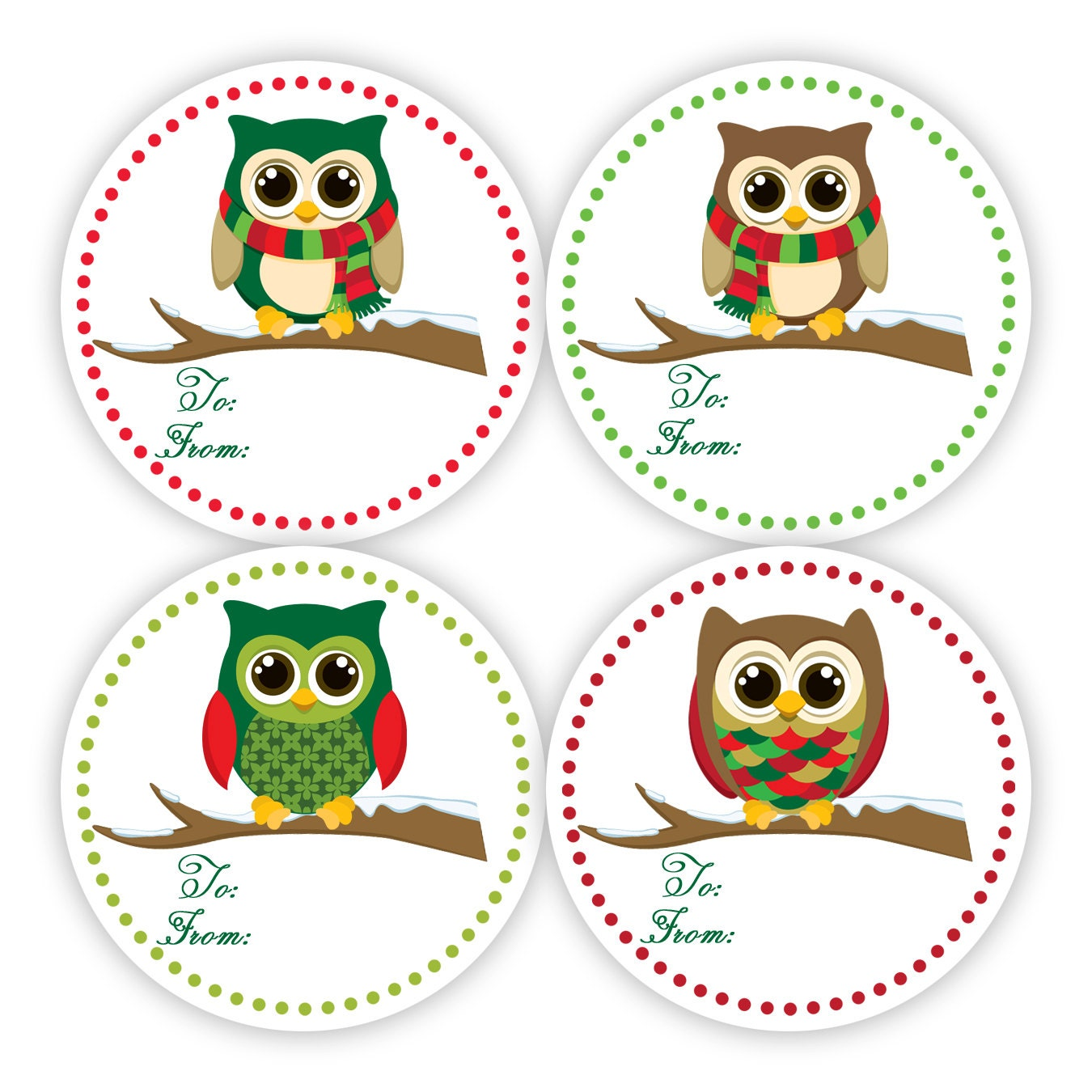 christmas gift tag stickers fun red and green polka dots Winter Borders Clip Art Winter Bird Clip Art