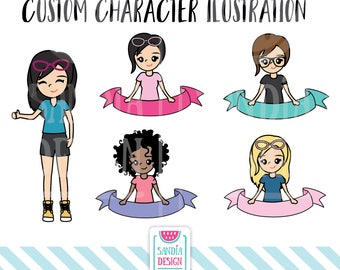 Custom Character Illustration, Clipart and Vector, Discount codes not applicable