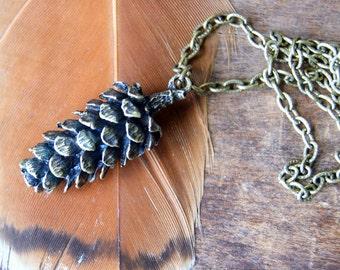 Pinecone Necklace - large antiqued bronze pine cone pendant