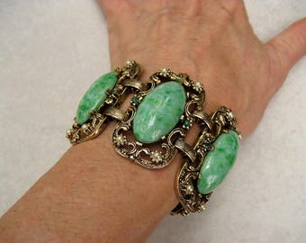 Vintage Selro Bracelet Green Marbled Lucite Cabochon Faux Pearls Rhinestones