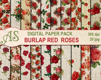 Digital Vintage Burlap Red Roses Paper Pack, 20 printable Digital Scrapbooking papers, Fabric Digital Collage, Instant Download, set 185