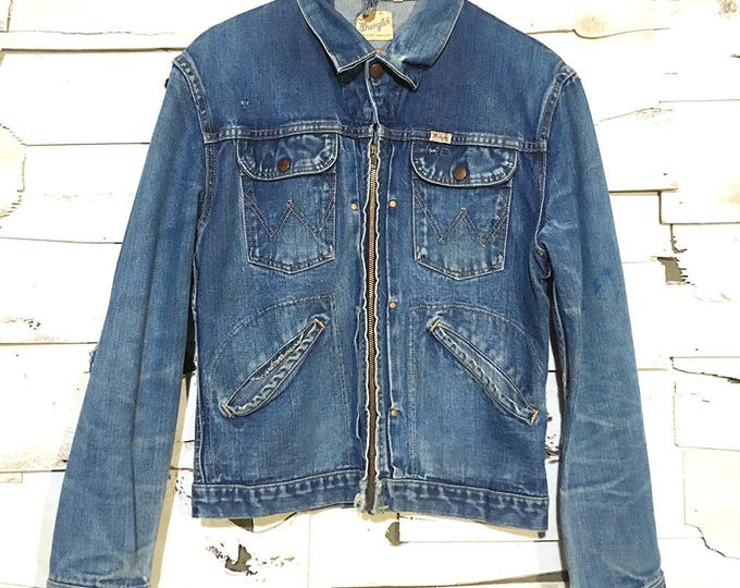 Vintage 50's Wrangler Sanforized Hand Stitched Denim Jacket - Small