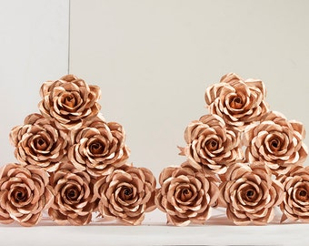 Perfect Metal Rose Bouquet 12 Copper Roses Beautiful full bloom life size flowers gift for wife girlfriend engagement anniversary wedding