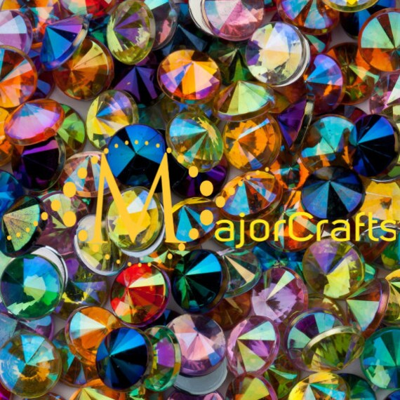 Mixed Colours AB Flat Back Pointed Rivoli Acrylic Rhinestones Embellishment Gems - C16
