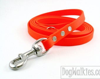 "Blaze Neon Orange Biothane Dog Leash - 5/8"" (16mm) -Choice of: Stainless Steel or Brass Hardware and Length 4ft, 5ft or 6ft (1.2m,1.5m,1.8m)"