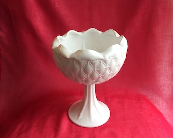 Vintage white milk glass pedestal compote / vase (2 available)