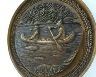 Vintage Faux Carved Wood 3D Art Rustic Antique Camp Decor Rowing Canoe Wilderness Indian Native American Settler Trapper Wall Hanging