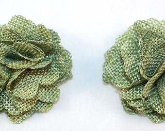 "2.5"" Green Burlap Flower 2 Pieces"