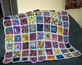 Granny square crochet lap robe