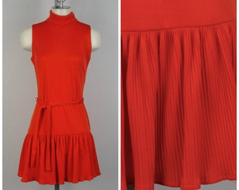 red drop waist mini dress with belt Jonathan Logan 60s to 70s vintage sleeveless high neck pleated skirt stretchy dress small