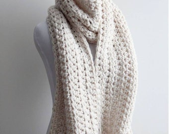 LONG WINTER SCARF, cream white chunky long scarf, cream long scarf, lambs wool blend, blanket scarf, oversized scarf, soft and easy to wear