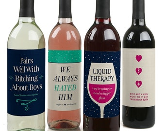 Break - Up Wine Bottle Labels for a Break - Up - Set of 4