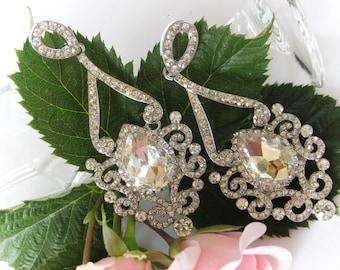 """Swarovski Crystals Bridal Chandelier Earrings """"Light of India"""", Bridesmaid Earrings, Long Earrings, Bridesmaid Jewelry, Dangle Earrings"""