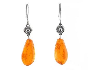 Amber earrings Birthstone jewellery earrings Vintage earrings Amber jewelry Vintage jewellery Antique earrings Silver earrings gifts|for|her