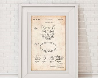 Cat Collar Patent Poster, Vintage Cat Print, Pet Groomer, Pet Lover Gift, Cat Decor, Vet Print, Pet Wall Art, Cat Gift, Pet Shop, PP1213