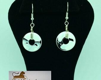 Black and  White Swirl Disc Earrings