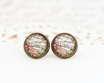 London Stud Earrings, Map Earrings, Map Jewelry, Vintage Map Print, Stud Earrings, Gift For Traveler, City Map Earrings, City of London